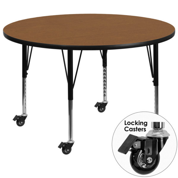 Wholesale Mobile 42'' Round Oak Thermal Laminate Activity Table - Height Adjustable Short Legs