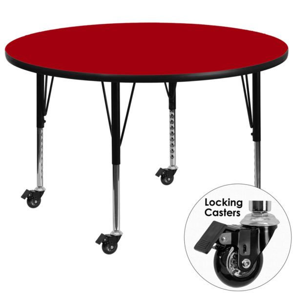 Wholesale Mobile 42'' Round Red Thermal Laminate Activity Table - Height Adjustable Short Legs