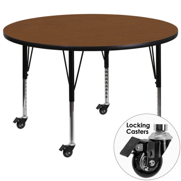 Wholesale Mobile 48'' Round Oak HP Laminate Activity Table - Height Adjustable Short Legs