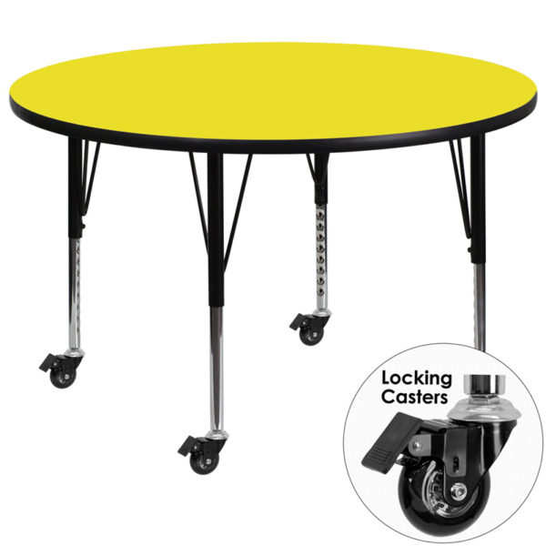 Wholesale Mobile 48'' Round Yellow HP Laminate Activity Table - Height Adjustable Short Legs