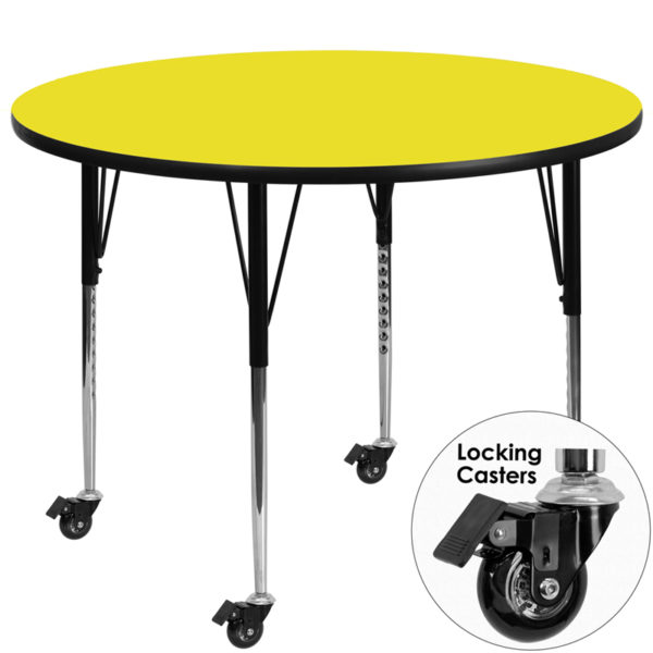 Wholesale Mobile 48'' Round Yellow HP Laminate Activity Table - Standard Height Adjustable Legs