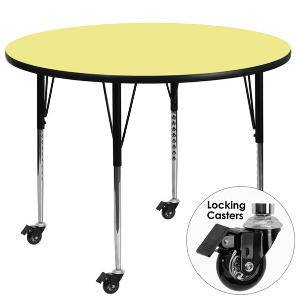 Wholesale Mobile 48'' Round Yellow Thermal Laminate Activity Table - Standard Height Adjustable Legs