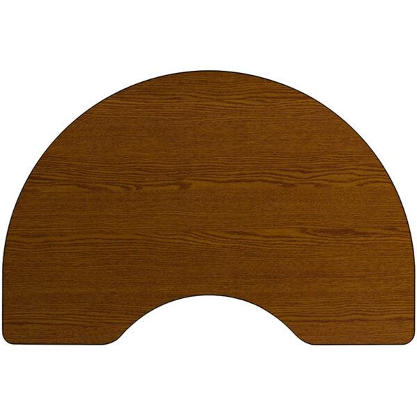 Lowest Price Mobile 48''W x 72''L Kidney Oak HP Laminate Activity Table - Standard Height Adjustable Legs
