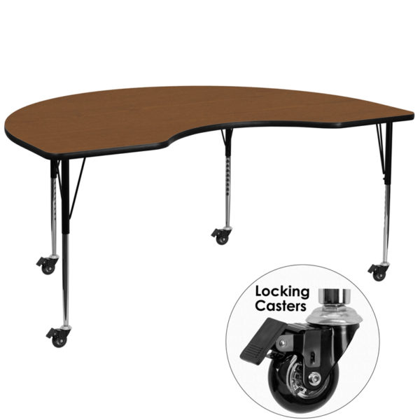 Wholesale Mobile 48''W x 96''L Kidney Oak HP Laminate Activity Table - Standard Height Adjustable Legs