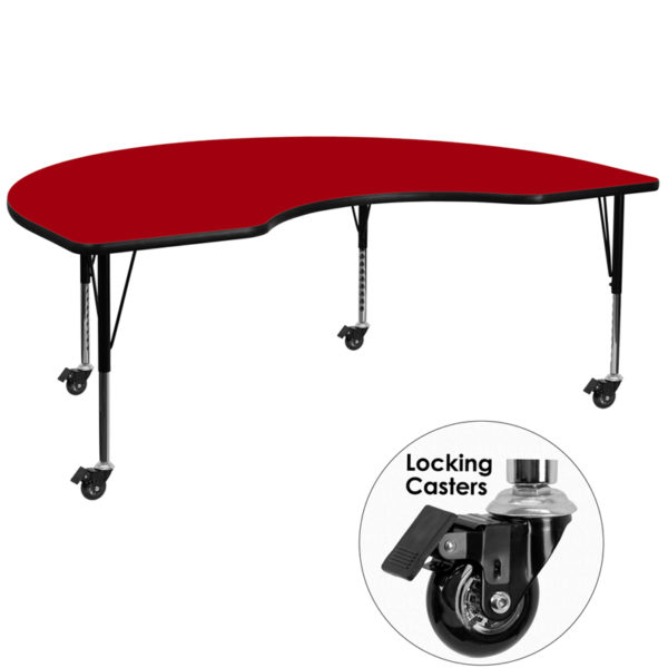 Wholesale Mobile 48''W x 96''L Kidney Red Thermal Laminate Activity Table - Height Adjustable Short Legs