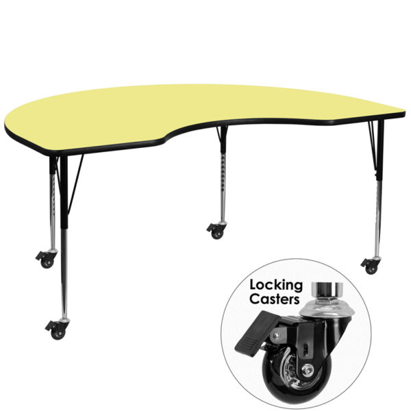 Wholesale Mobile 48''W x 96''L Kidney Yellow Thermal Laminate Activity Table - Standard Height Adjustable Legs