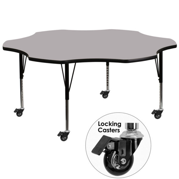 Wholesale Mobile 60'' Flower Grey Thermal Laminate Activity Table - Height Adjustable Short Legs