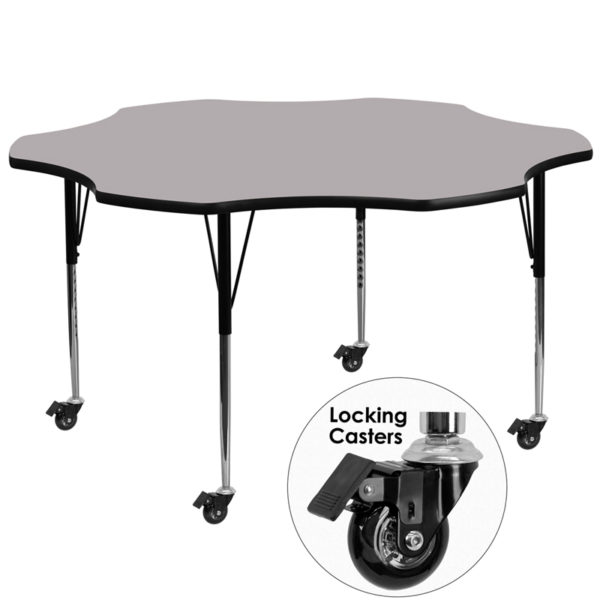 Wholesale Mobile 60'' Flower Grey Thermal Laminate Activity Table - Standard Height Adjustable Legs