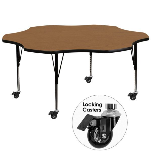 Wholesale Mobile 60'' Flower Oak Thermal Laminate Activity Table - Height Adjustable Short Legs