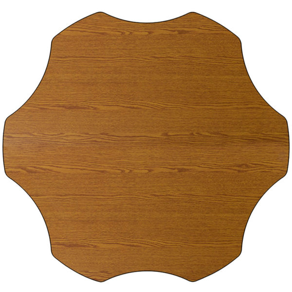 Lowest Price Mobile 60'' Flower Oak Thermal Laminate Activity Table - Standard Height Adjustable Legs