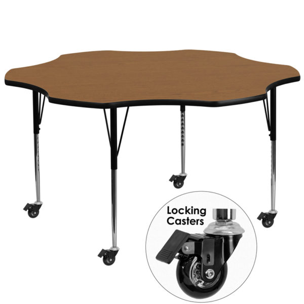 Wholesale Mobile 60'' Flower Oak Thermal Laminate Activity Table - Standard Height Adjustable Legs