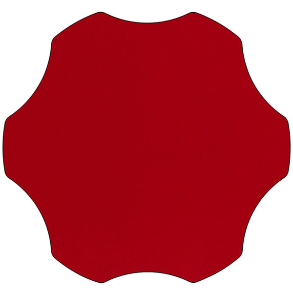 Lowest Price Mobile 60'' Flower Red Thermal Laminate Activity Table - Height Adjustable Short Legs