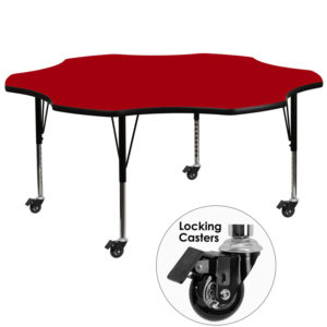Wholesale Mobile 60'' Flower Red Thermal Laminate Activity Table - Height Adjustable Short Legs
