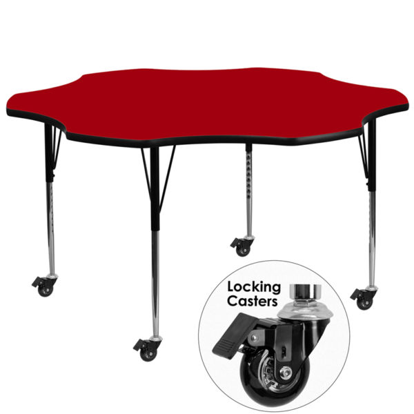 Wholesale Mobile 60'' Flower Red Thermal Laminate Activity Table - Standard Height Adjustable Legs