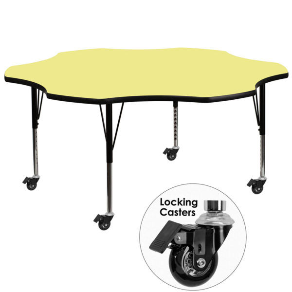 Wholesale Mobile 60'' Flower Yellow Thermal Laminate Activity Table - Height Adjustable Short Legs