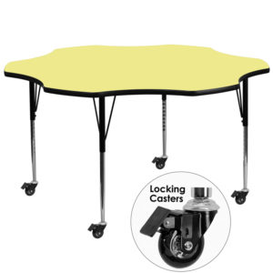 Wholesale Mobile 60'' Flower Yellow Thermal Laminate Activity Table - Standard Height Adjustable Legs