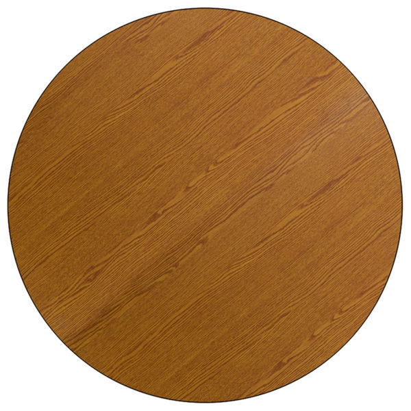 Lowest Price Mobile 60'' Round Oak Thermal Laminate Activity Table - Height Adjustable Short Legs