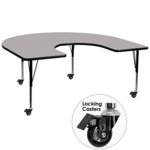 Wholesale Mobile 60''W x 66''L Horseshoe Grey Thermal Laminate Activity Table - Height Adjustable Short Legs