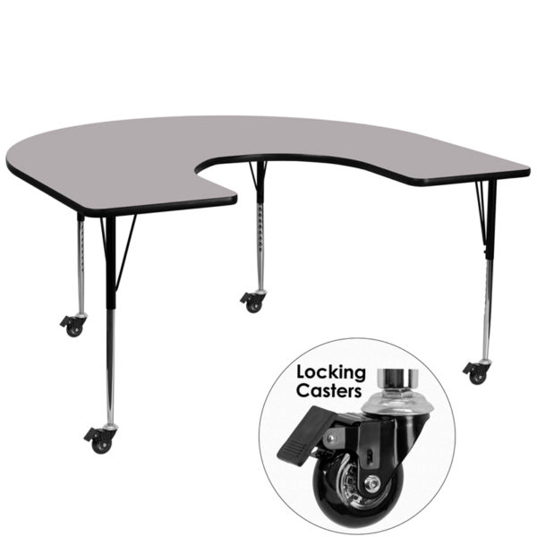 Wholesale Mobile 60''W x 66''L Horseshoe Grey Thermal Laminate Activity Table - Standard Height Adjustable Legs