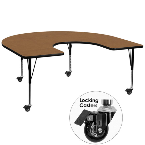 Wholesale Mobile 60''W x 66''L Horseshoe Oak Thermal Laminate Activity Table - Height Adjustable Short Legs