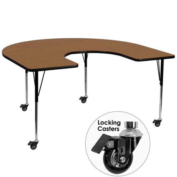 Wholesale Mobile 60''W x 66''L Horseshoe Oak Thermal Laminate Activity Table - Standard Height Adjustable Legs