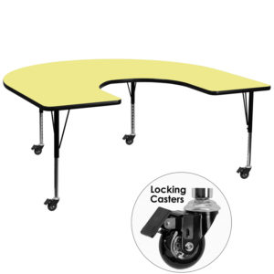 Wholesale Mobile 60''W x 66''L Horseshoe Yellow Thermal Laminate Activity Table - Height Adjustable Short Legs