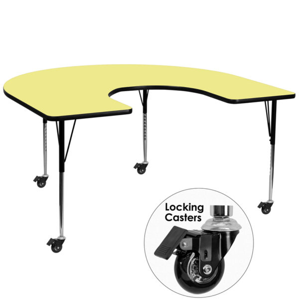 Wholesale Mobile 60''W x 66''L Horseshoe Yellow Thermal Laminate Activity Table - Standard Height Adjustable Legs