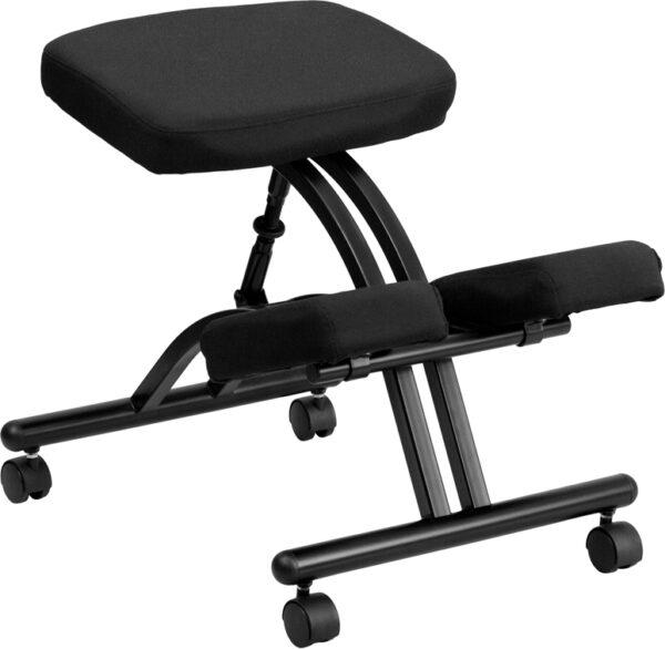 Wholesale Mobile Ergonomic Kneeling Office Chair in Black Fabric