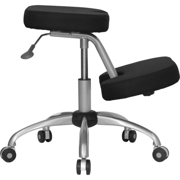 Lowest Price Mobile Ergonomic Kneeling Office Chair with Silver Frame in Black Fabric