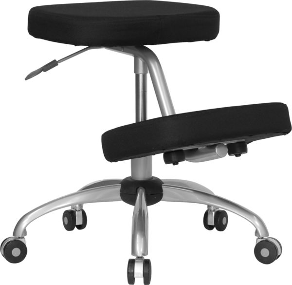 Wholesale Mobile Ergonomic Kneeling Office Chair with Silver Frame in Black Fabric