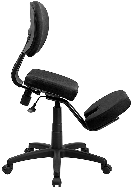 Lowest Price Mobile Ergonomic Kneeling Posture Task Office Chair with Back in Black Fabric