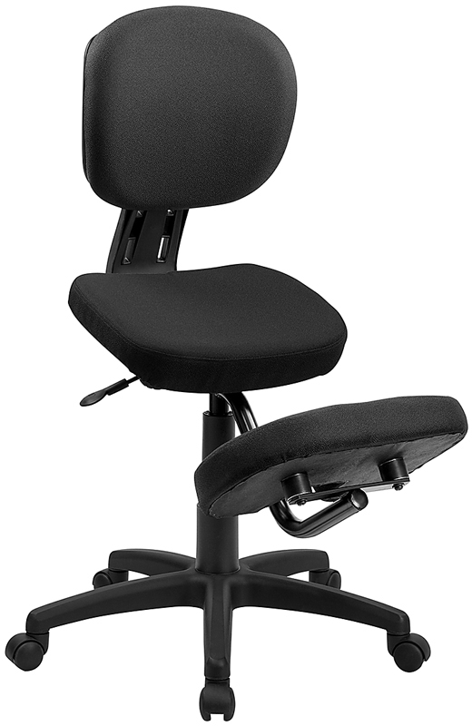 Wholesale Mobile Ergonomic Kneeling Posture Task Office Chair with Back in Black Fabric
