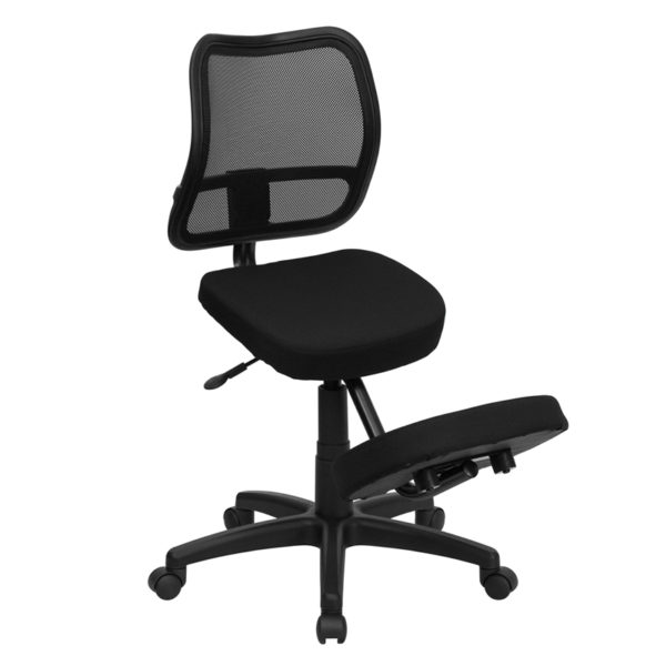 Wholesale Mobile Ergonomic Kneeling Swivel Task Office Chair with Black Mesh Back and Fabric Seat