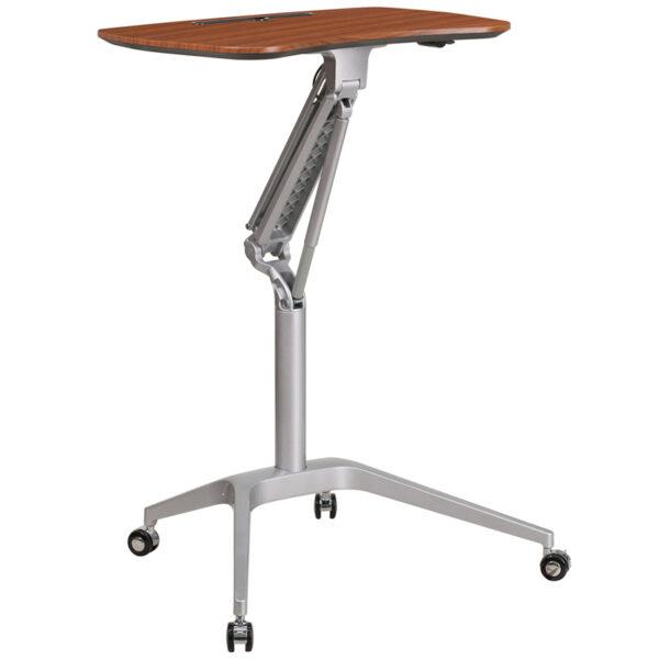 Stand-Up Mahogany Computer Ergonomic Desk with 28.25''W Top (Adjustable Range 29'' - 41'')