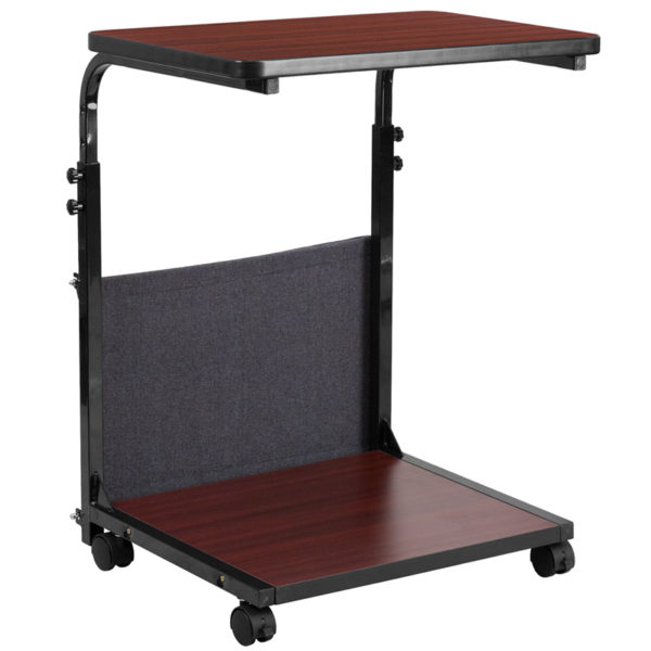 Stand-Up Mahogany Computer Ergonomic Desk with Removable Pouch (Adjustable Range 27'' - 46.5'')