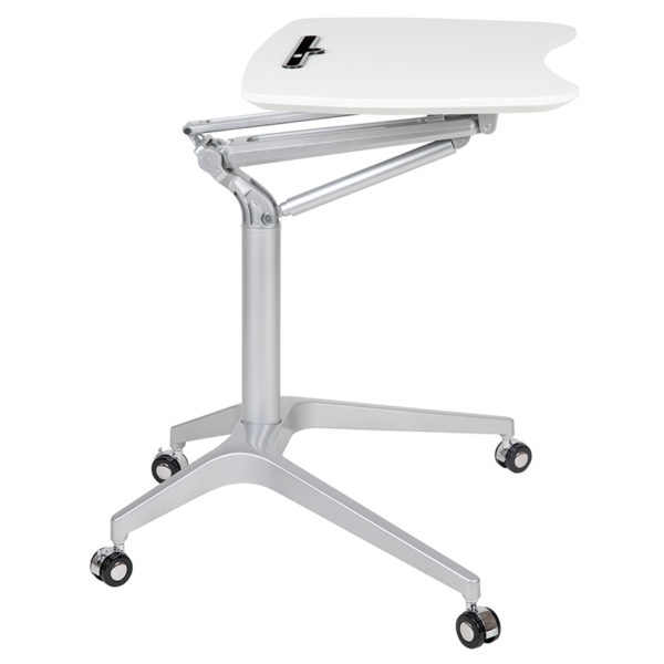 "Stand-Up White Computer Ergonomic Desk with 28.25""W Top (Adjustable Range 29"" - 41"")"