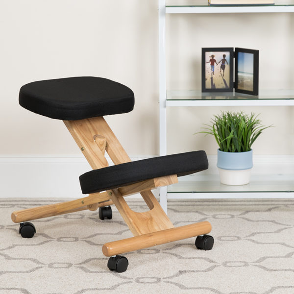 Lowest Price Mobile Wooden Ergonomic Kneeling Office Chair in Black Fabric