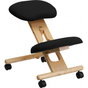 Wholesale Mobile Wooden Ergonomic Kneeling Office Chair in Black Fabric