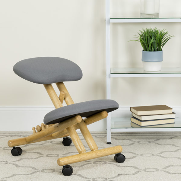 Lowest Price Mobile Wooden Ergonomic Kneeling Office Chair in Gray Fabric