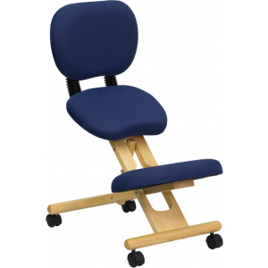 Wholesale Mobile Wooden Ergonomic Kneeling Posture Office Chair with Reclining Back in Navy Blue Fabric