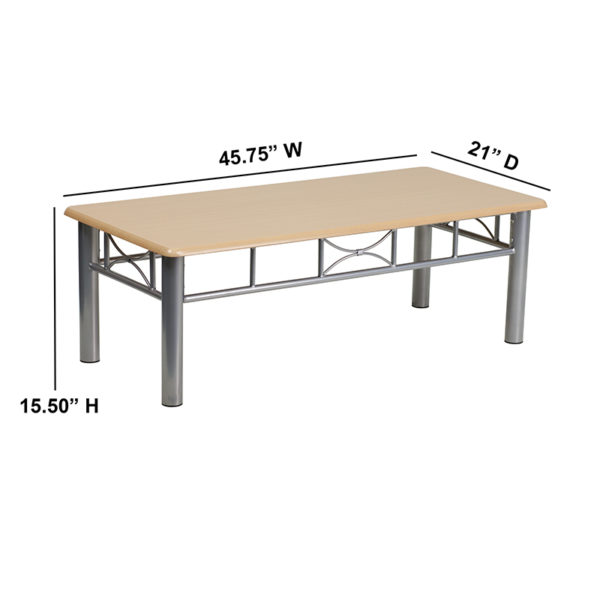 Lowest Price Natural Laminate Coffee Table with Silver Steel Frame