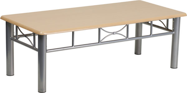 Wholesale Natural Laminate Coffee Table with Silver Steel Frame