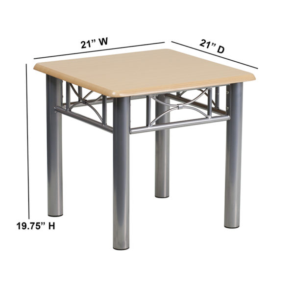 Lowest Price Natural Laminate End Table with Silver Steel Frame