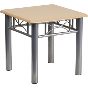 Wholesale Natural Laminate End Table with Silver Steel Frame
