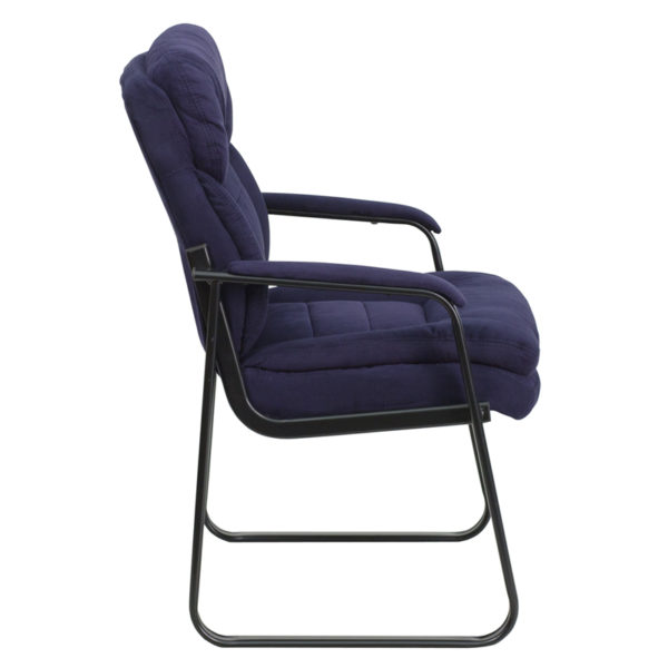Lowest Price Navy Microfiber Executive Side Reception Chair with Lumbar Support and Sled Base