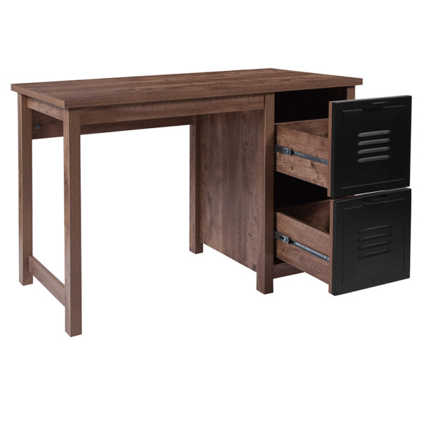 Lowest Price New Lancaster Collection Crosscut Oak Wood Grain Finish Computer Desk with Metal Drawers