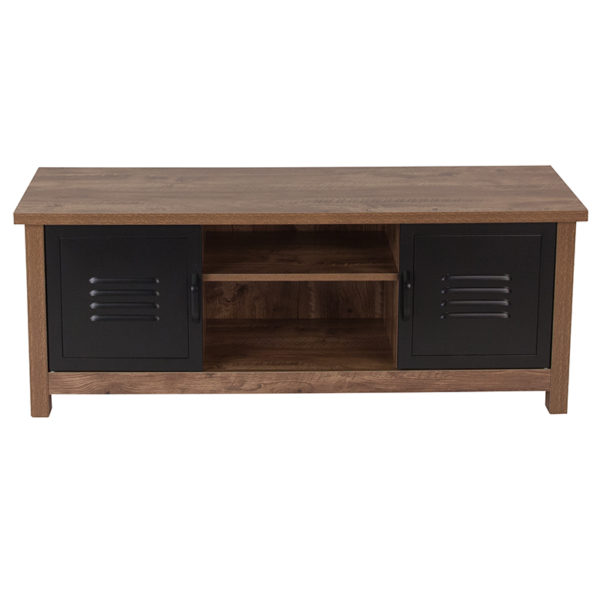 Lowest Price New Lancaster Collection Crosscut Oak Wood Grain Finish Storage Bench with Metal Cabinet Doors
