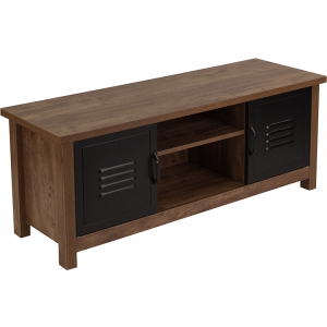 Wholesale New Lancaster Collection Crosscut Oak Wood Grain Finish Storage Bench with Metal Cabinet Doors