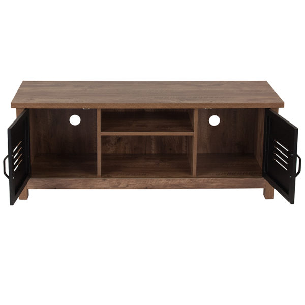 Contemporary Style Oak Storage Cabinet Bench