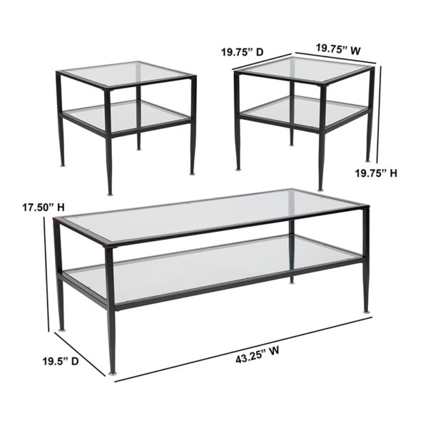 Lowest Price Newport Collection 3 Piece Coffee and End Table Set with Glass Tops and Black Metal Frames